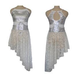 Wholesale White Latin Ballroom Dresses - White Sequin Lace Dress Latin Dance Party Lyrical Bodice Lace Skirt Ballet Women Girls Performance Costume