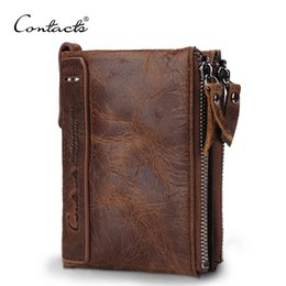 Wholesale Leather Card Holder Small - CONTACT'S HOT Genuine Crazy Horse Cowhide Leather Men Wallet Short Coin Purse Small Vintage Wallet Brand High Quality Designer