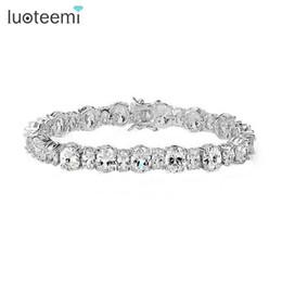 Wholesale noble bracelet - LUOTEEMI Women Sexy Noble Bridal Jewelry Tennis Bracelet White Cubic Zirconia Stone fashion Bracelet for Women