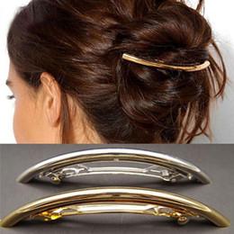 Wholesale Skull Barrettes - 2017 New Fashion Women Metal Hair Clips Barrettes Girls Plated Plain ARC Tube Hairgrip Hairband Hairpins Hair Accessories