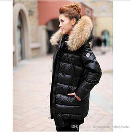 Wholesale long stocking hats - In Stock Winter Women Down Jackets High Quality Women Warm Slim Large Fur Collar White Duck Down Jacket Parkas Long Down Coats