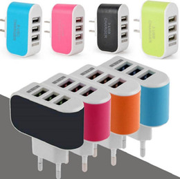 Wholesale Eu Color Charger - LED Light Triple 3USB ports 3.1A USB AC US EU candy color wall charger home plug for samsung s6edge plus for iphone 6 plus 6s