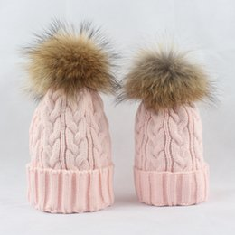Wholesale Wholesale Plush Raccoon - Kids knitting cap boys girls raccoon fur pompon beanie womens plush crochet knitted hats winter new children warm hats T0578