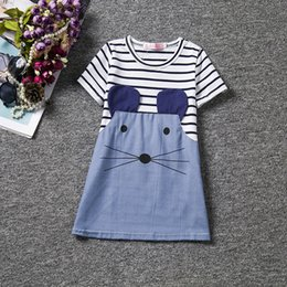 Wholesale Pattern Mouse - Kids Girls cute little mouse pattern dress cotton animal print striped short sleeve dress splicing color summer outfits for 2-6T