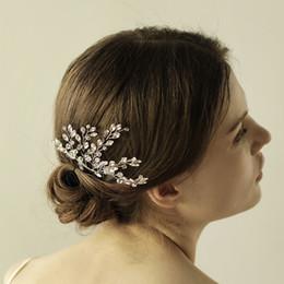 Wholesale Wedding Ribbon Crystal Headband - Graceful Gold Silver Bridal Tiaras Pearls Headbands Hair Flowers Bridal Wedding Hair Accessories High Quality Women Headpieces CPA899