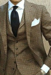 Wholesale Tuxedo Designs - 2018 New Coat Pant Design Houndstooth Mens Tuxedos Groom's Wear Tuxedo Wedding Suits For Men Blazer Masculino Plus Size(suit+vest+pant)1202