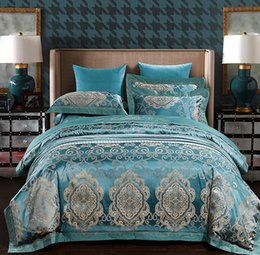 Wholesale king size white bedspread - Embroidered Blue Queen duvet cover sets Luxury Bedding set European Satin Jacquard bedspread sheets bed sheet King size 4PCS
