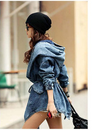 moda cool mujer dama denim Rebajas Moda Mujer Lady Denim Trench Coat Sudadera con capucha Ropa de abrigo Jean Jacket Cool
