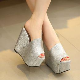 Wholesale Shoes High Platform Sequin - 2017 Roman high-heeled platform shoes high 16cm Peep-toe sequins nightclubs with slippers sandals women casual sandal