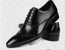 Wholesale Bu Black - British white wedding shoes men's genuine leather fashion lace Europe pointed lace-up dress bu