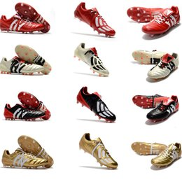 Wholesale Best Indoor Soccer Shoes - Original Gold Colors Mens Predator Mania Champagne Football Boots Champagne FG Soccer Shoes Best Quality Soccer Cleats