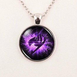 Wholesale Fairy Tail Jewelry - Wholesale-Steampunk Anime Fairy Tail Guild Marks Purple Wing Pendant Necklace doctor dr who 1pcs lot chain men jewelry women new chain