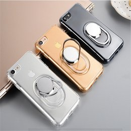 Wholesale Transparent Car Cover - 360 Rotating Magnets Bracket Cases Ultra Thin Armor Soft Tpu Clear Cover With Kickstand Car Air Vent Holder For iPhone 6 6S 7 Plus