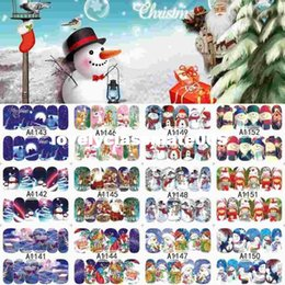Wholesale Merry Christmas Nail - 12 Sheets XMAS Nail Art Water Transfer Sticker Full Cover Decals Merry Christmas Snowman Stickers Wrap Tip Decoration A1141-1152