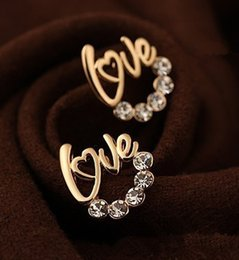 Wholesale Statement Stud Earrings - Fashion Gold and Silver Plated Love Rhinestone stud earrings for women Statement Jewelry for party free shipping
