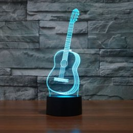 Wholesale Led Desk Lamp Usb Charger - Music Guitar Model 3D Night Light Touch Table Desk Lamps, HAIYU 7 Color Changing Illusion Lights with Acrylic Flat & ABS Base & USB Charger