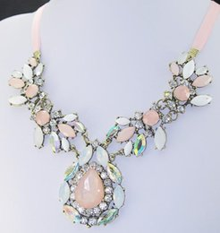 Wholesale Synthetic Gems Wholesale - Wholesale- MINHIN Women's Full Synthetic Crystal Wedding Necklace Collar Romantic Female Pink Gem Stone Pendant Statement Necklace