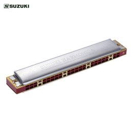 Wholesale Harmonica Wholesalers - wholesale Suzuki Study-24 24 Holes Harmonica Tremolo Key of C with Cleaning Cloth Box Musical Instrument for Beginner Student
