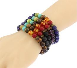 5 cores Unisex chakra pulseiras de energia natural pulseiras de pedra de lava contas coloridas pulseiras R030 de Fornecedores de contas de lua roxa