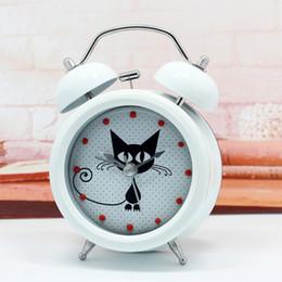 Wholesale Unique Design Tables - Wholesale-Modern Design Cute & Mysterious Cat Alarm Clock Metal Twin Ring Clock Unique Gift Quartz Beside Table Clock Unique Gift