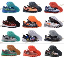 Wholesale Down Hill - 2017 Kevin Durant KD 8 Men Women Basketball Shoes V8 Bright Crimson Suit Hyper Cobalt Hunts Hill Sunrise Night KD8 Sports Shoes 40-46
