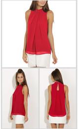 Wholesale Peplum Top Xl Red - HOT SALE! 9 colors Halter Neck Shirts Elegant Sleeveless Chiffon Blouse Ruffles Turtleneck Tops Sexy Off Shoulder Blouses