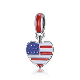 Usa flaggenperlen online-Flagge der USA Charm fit Pandora Armband passt Pandora Halsketten Herz Öl Charm Perlen Anhänger