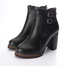 Wholesale Double Buckle Boots - Wholesale-Free Shipping Women Thick High Heel Double Buckle Elastic Bootie Zipper Martins Ankle Boots Fashion Ladies Autumn Winter Shoes
