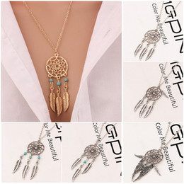 Wholesale Feathers Necklaces - Hot Fashion Feather Pendant Necklaces 6 Styles Alloy Dream Catcher girl Necklace For Women Statement Elegant Necklace Jewelry Wholesale