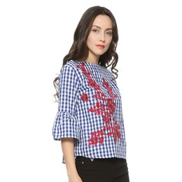 Wholesale Three Quarter Sleeve Floral Blouse - Women floral embroidery plaid blouse full cotton three quarter flare sleeve loose shirts fashion streetwear tops blusas TI974123410