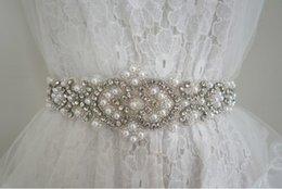 Wholesale Sequin Satin Belts - Top quality ,Rhinestone + Pearl 100% pure hand bridal belt, wedding belt, luxury beading pearls wedding sashes 2017 , 5.3*62.5cm decorated