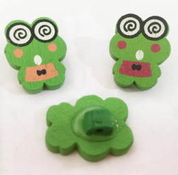 Wholesale Cartoon Wood Buttons - 100pcs 22*17mm Assorted Colors Cartoon Frog Wood Buttons Shank For Handicrafts Sewing Scrapbooking Accessory