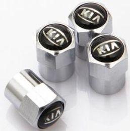 Wholesale wholesale chrome rims - 4pcs mini Chrome Tire Wheel Rims Stems Air Valve Caps Tyre Cover For KIA K2 K3 K5