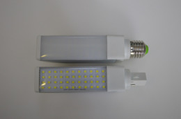 Wholesale G24 Led Dimmable - Free Shipping G24 G23 E27 Base LED Plug Light 6W Aluminum+Milky or transparent Cover 220V Dimmable or AC85-265V Non-dimmable