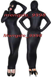 Wholesale spandex body suit costume - Sexy Black Lycra Spandex Body Bags Suit Catsuit Costumes Unisex Cosplay Costumes Outfit With Open Eyes Mouth Halloween Cosplay Suit M076