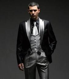 Wholesale Complete Black Suit - Men Complete Designer Bridegroom Wedding Prom Suits Groom Tuxedos Best Man Groomsmen Mens Customized Wedding Suits (Jacket+Pants+Vest)
