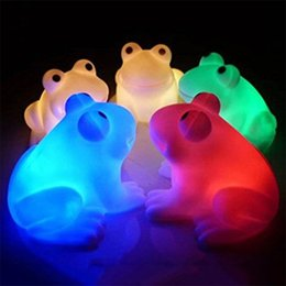 Wholesale Face Flashing - Energy Magic LED Cute Frog Night Light Novelty Lamp Changing Colors Colorful led Holiday Party decor light Flash light