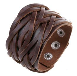 Wholesale Wholesale Adjustable Leather Bracelets Buckle - New Punk Jewelry Women Men Vintage Wide Leather Bangles Fashion Adjustable Alloy Buckle Weave Bracelets 3 Colors SH