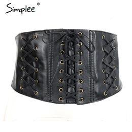Wholesale Sexy Corsets Women Leather - 2017 Sexy synthetic leather black belts summerbunds Lace up slim buckle belt corset Bodycon elegant cummerbund for women