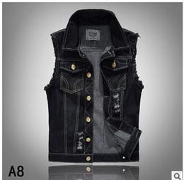 Wholesale New Mens Jean Vest - Wholesale- 2017 Brand New Mens Black Hole Denim Vests Single Breasted Male Casual Plus Size Jean Waistcoats Cowboy Coat Vests S 6Xl J1709