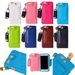 Wholesale Neck Strap Lanyard Iphone - iPhone 7 7 Plus Detachable Lanyard PU Leather Hanging Neck Strap Wallet Case Cover with for iPhone 6 6s Plus 5s SE BB0020