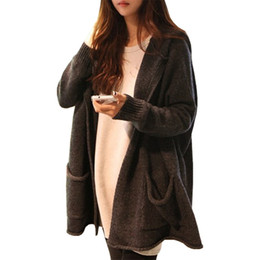 Wholesale Hooded Cardigan Knitting - Wholesale-Spring Autumn long sweater women Korean jumper loose big yards leisure hooded cardigan sweaters coat clothing vestidos LXJ341