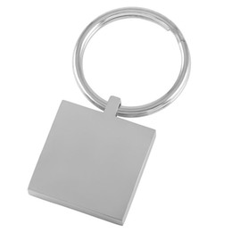 Wholesale Square Metal Key Chains - IJK0037 Square 23mm*23mm Stainless Steel Blank Key Chain Metal Card Engrave Key Ring