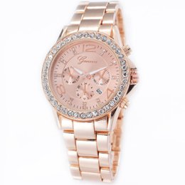 Wholesale Women Rhinestone Waterproof Watch - Rhinestone Crystal Quartz Analog Wrist Watch Geneva Brand Men Women Watches Waterproof Luxury Dress Clock Wristwatches