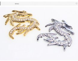 Wholesale Metal Dragon Car - 3 d stereo set auger Chinese dragon metal car stickers car metal modified the gold and silver 2 color car wrap