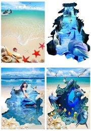 Wholesale Wood Floor Wholesalers - 30jy Whale Mermaid 3D Wallpaper Self Adhesive Waterproof Floor Painting Wall Sea Sandy Beach Starfish Wallpapers For Living Room Bedroom
