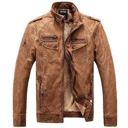 Wholesale Asian Coats - Wholesale- New Winter Leather Jacket Mens Coats Fur inside Men Motorcycle Jacket High Quality PU Leather Outwear MaleWinter 3XL Asian,JA4