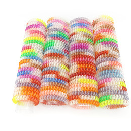 Wholesale Hair Tie Jewelry - Wholesale 100 Pcs Size 5.5 CM Hair Jewelry Headbands Telephone Line Wire Plastic Hair Rope Ties for Women Hair Band Accessory