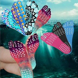 Wholesale Smile Stick - Nakefit Beach Invisible Anti Slip Insoles Starry Emoji Smile Mandala Thermal Insulation Waterproof Soles Stick On Feet Pads Socks OOA2326