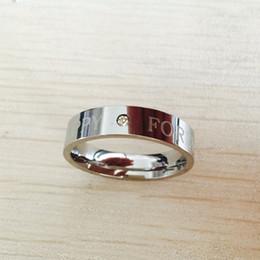 Wholesale 18k Gold Rings Forever Love - Classic 6mm 316 Titanium Steel white gold plated HAPPY FOREVER wedding band letter love ring men women birthday gift
